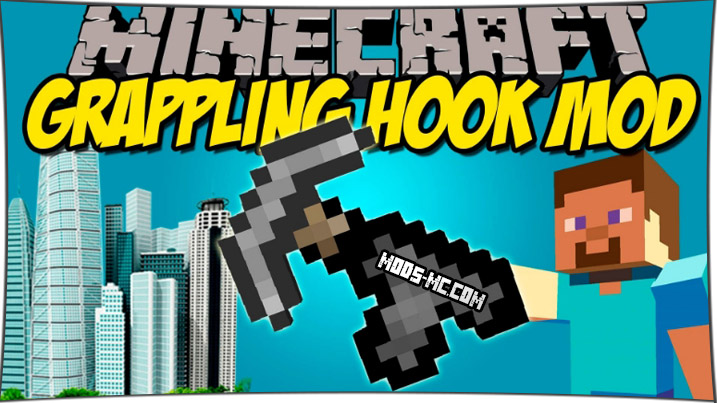Grappling hook - мод на крюки 1.12.2, 1.11.2, 1.10.2, 1.8, 1.7.10